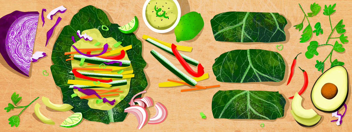 Collard rainbow wraps