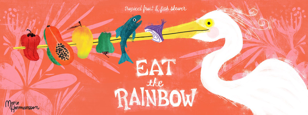 Marie hermansson eat the rainbow tropical fruit   fish skewer