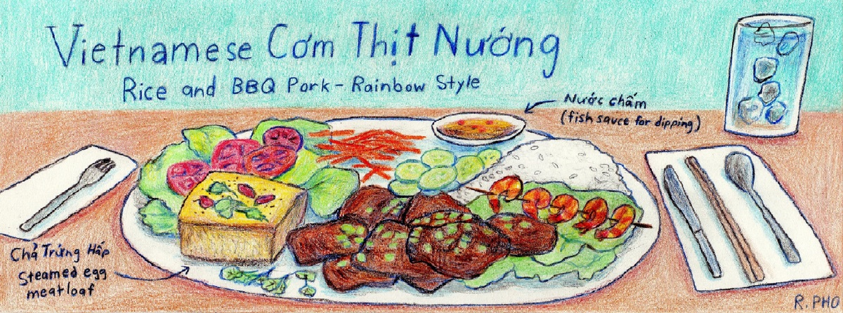 Vietnamese com thit nuong   rice and bbq pork rainbow style