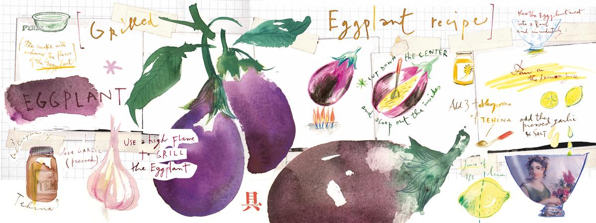Grilled eggplant recipe lucile prache