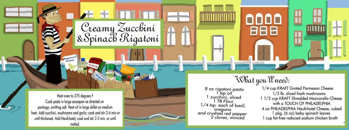 Creamy zucchini and spinach rigatoni recipe