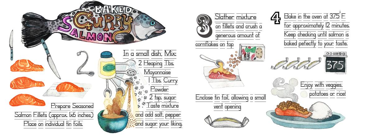Gel jam baked curry salmon