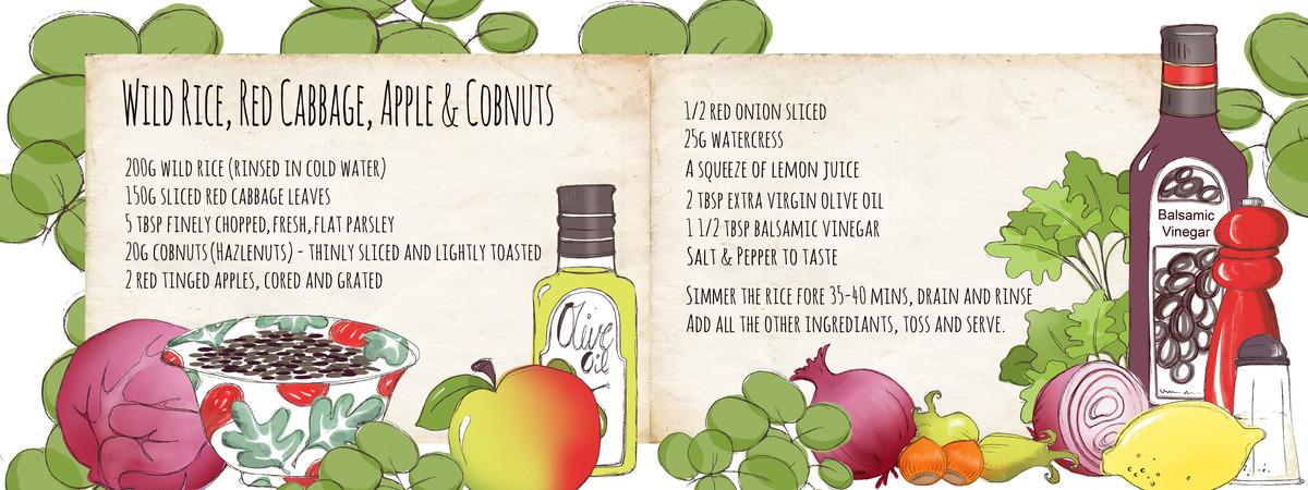 Recipe wild rice cabbage apple and cobnuts