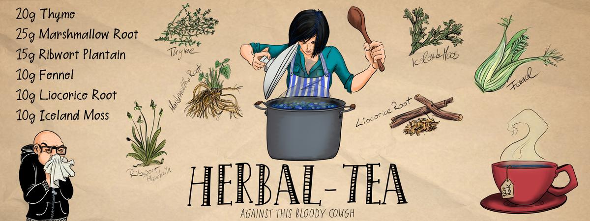 Herbal tea against cough
