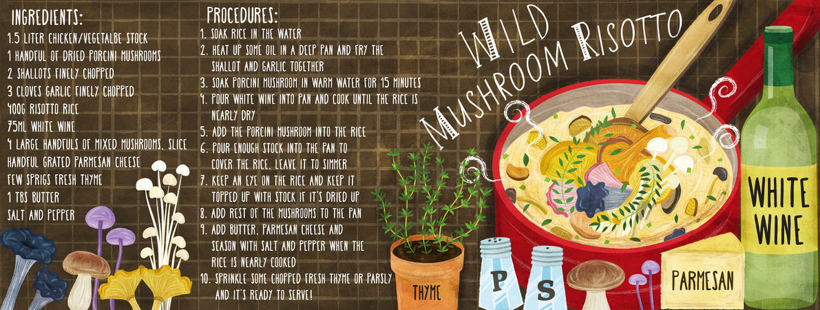 Liv wan mushroom risotto recipe illustration