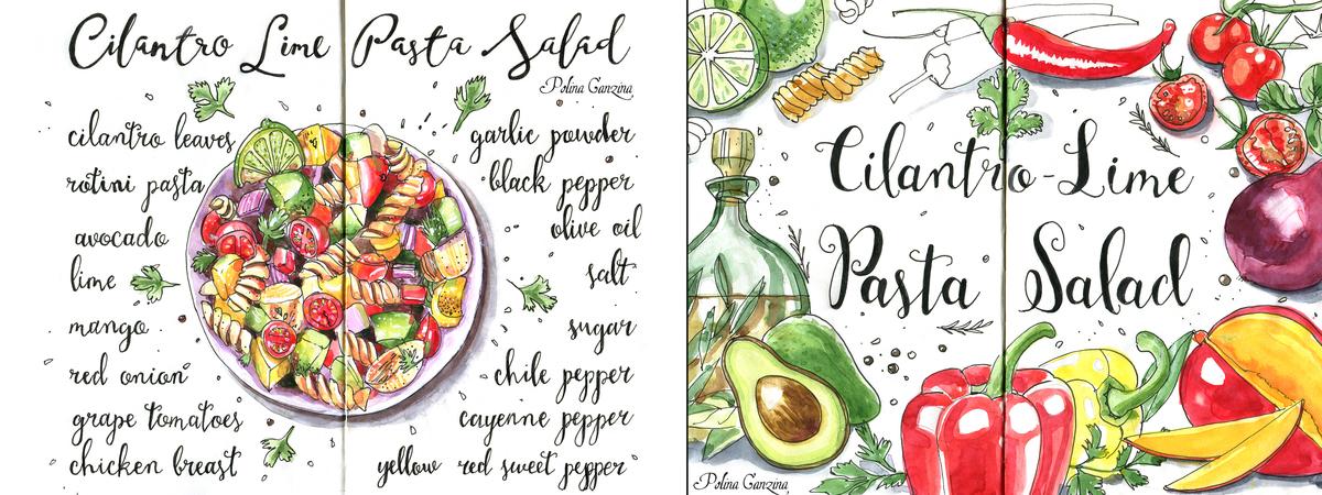 Cilantro lime pasta salad ingredients  watercolor recipe