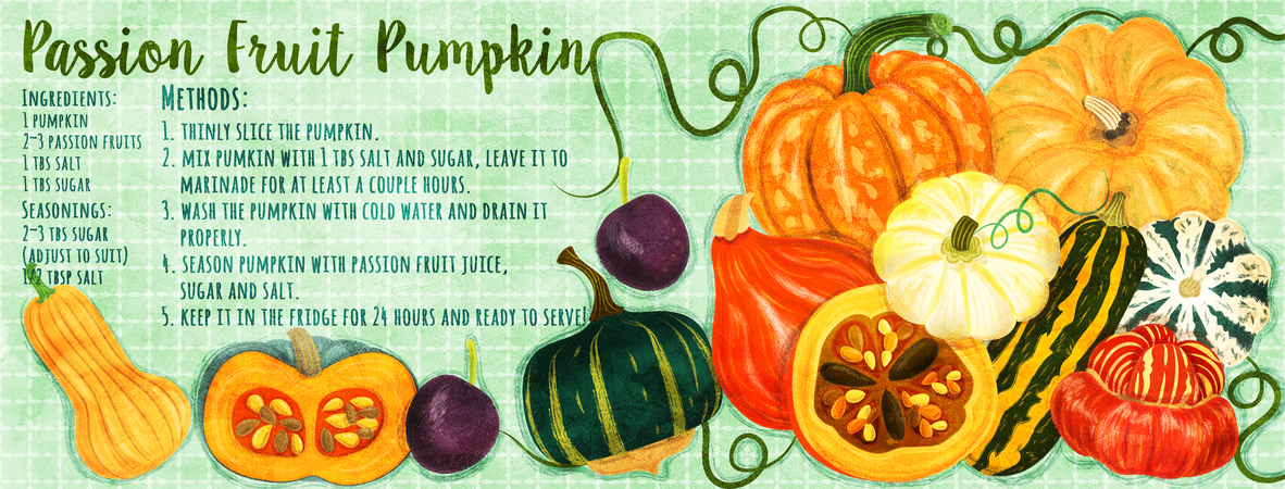 Tdac passion fruit pumpkin recipe illustration