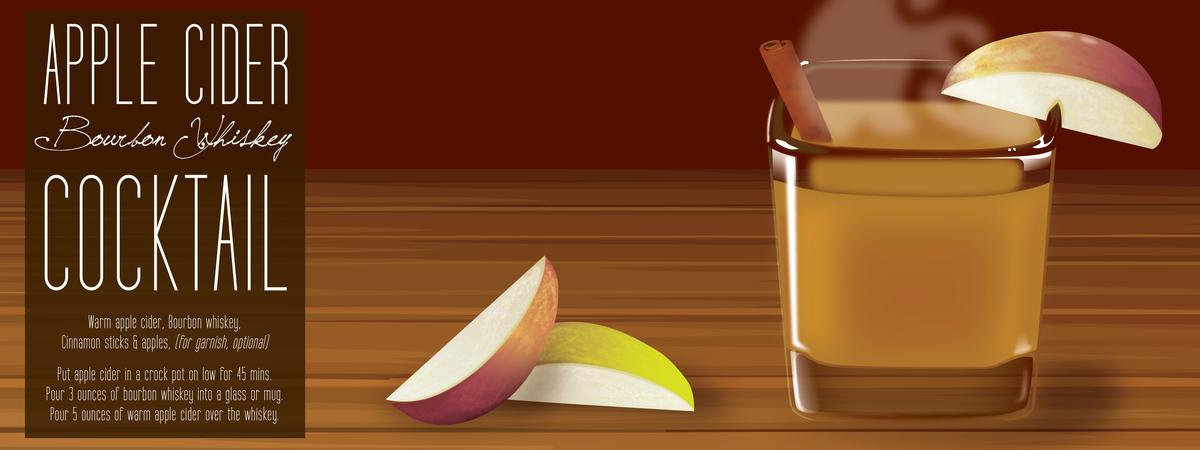 Apple cider bourbon whiskey cocktail