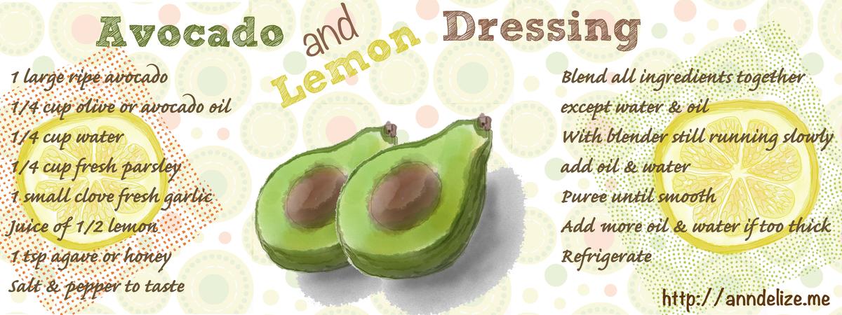 Avocado and lemon dressing