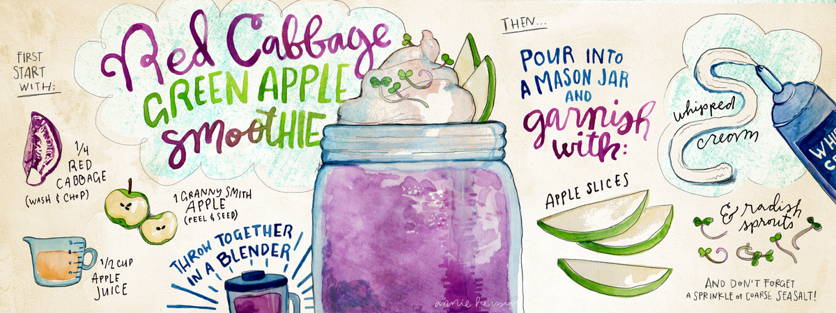 Redcabbage greenapple smoothie recipe