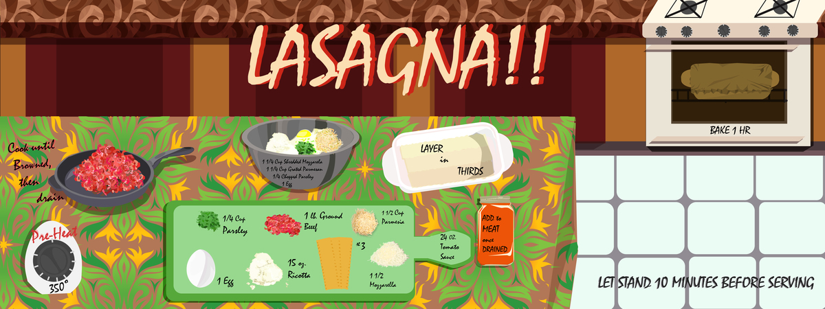 Casandra burns ill rec. lasagna