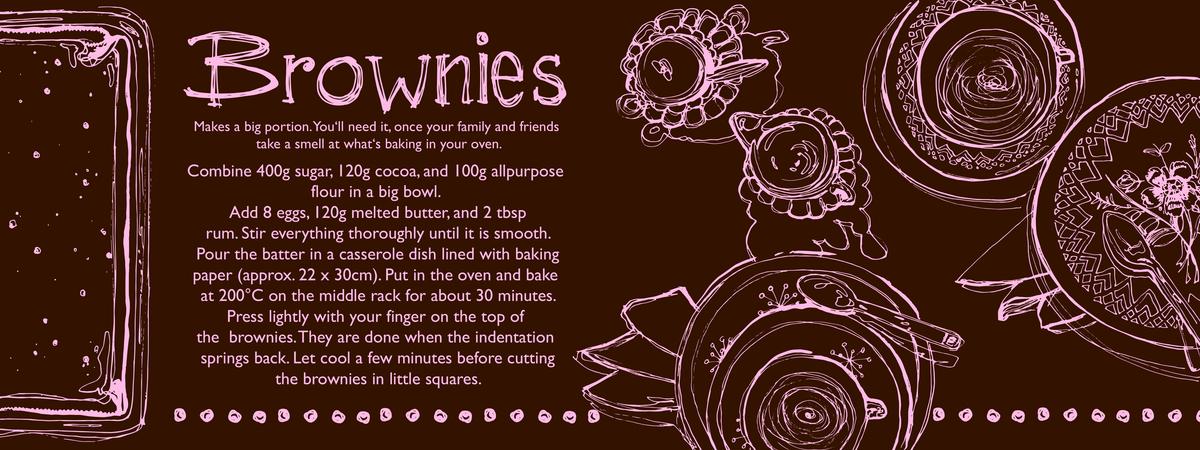 Brownies flat brown pink