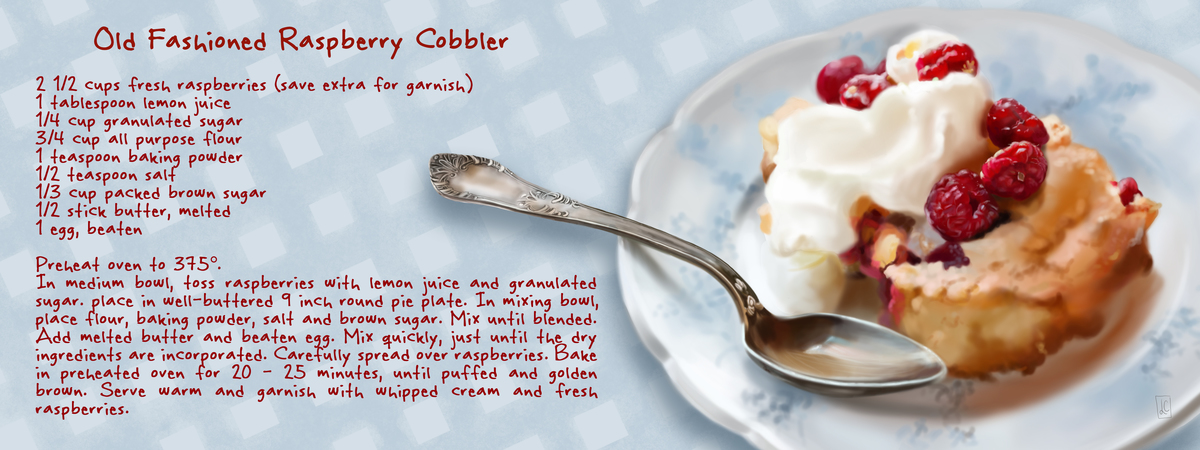 Food illustration cobbler recipe