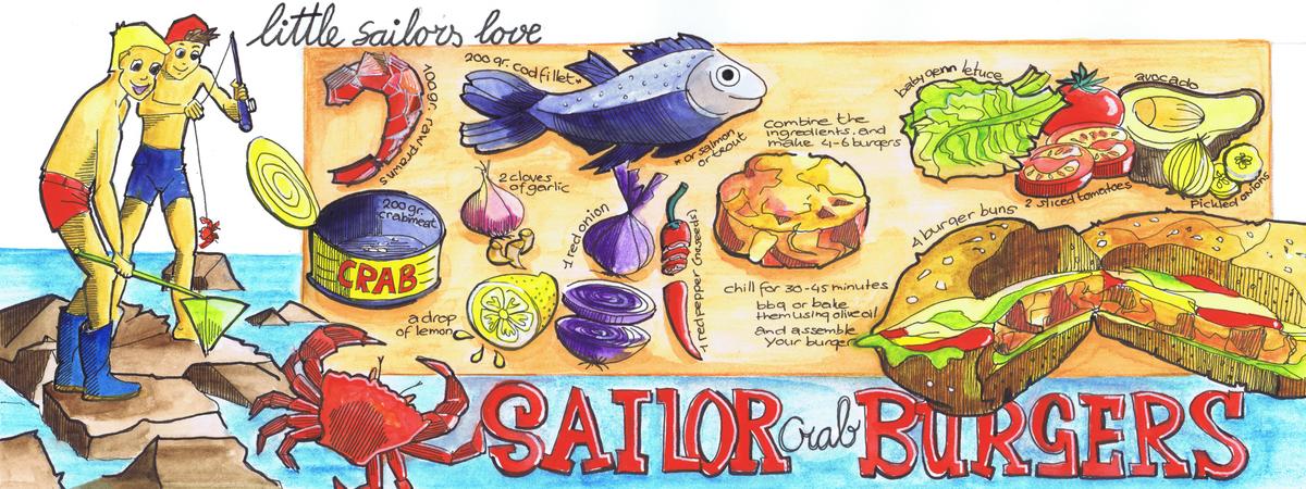 Theydrawandcook layout sailor crab burger angeleernst