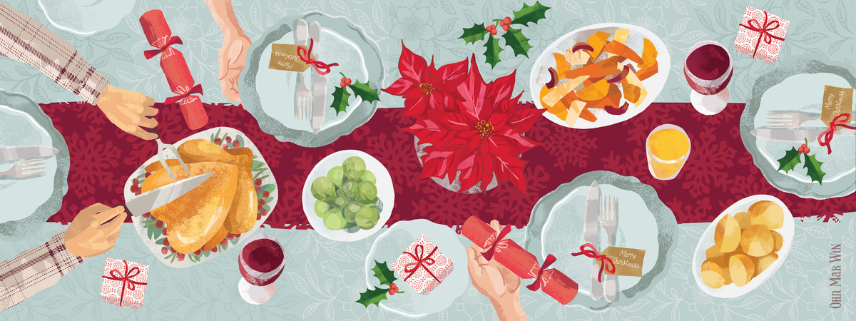 classic christmas dinner scene by ohn mar win - Classic Christmas Dinner