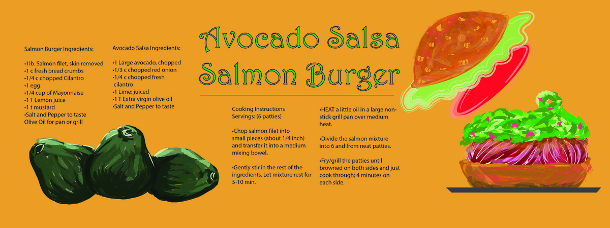 Gabriela noriega salmon burger with avocado