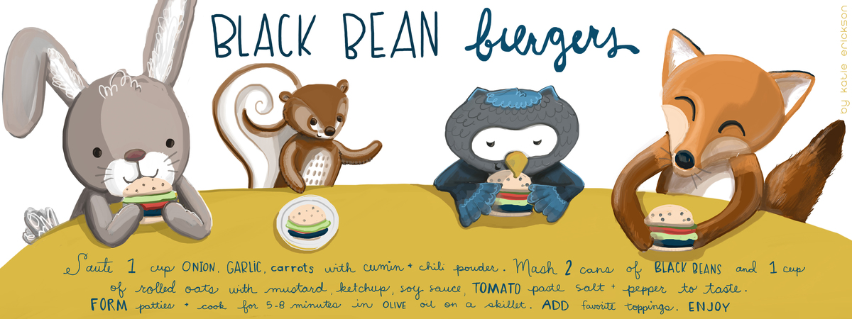 Katie erickson art recipe black bean burger