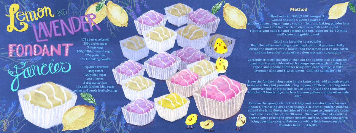 Lemon and lavender fondant fancies