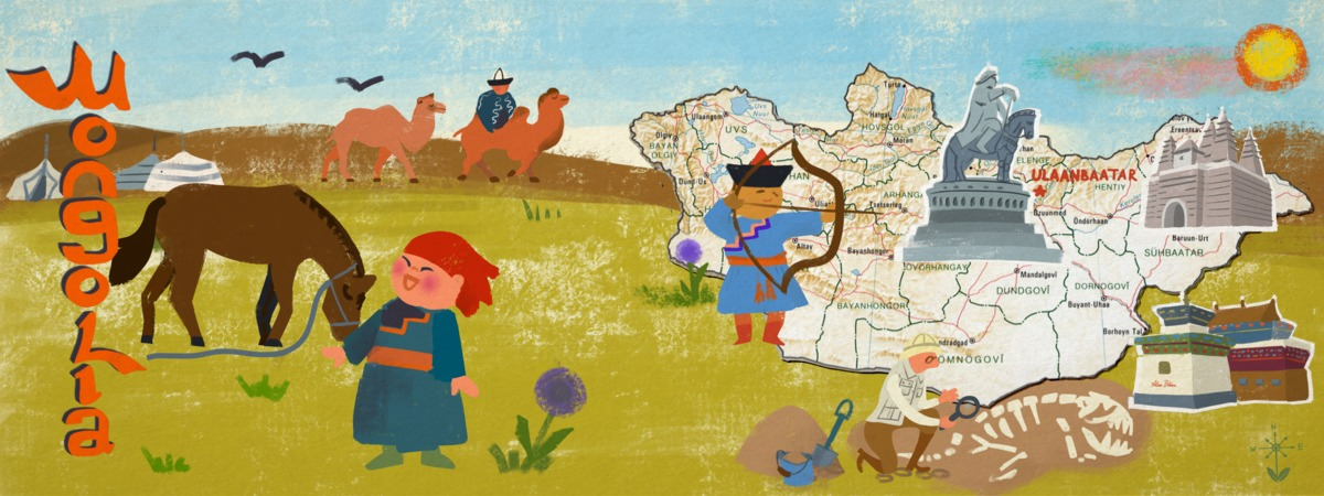 Mongolia map illustrated