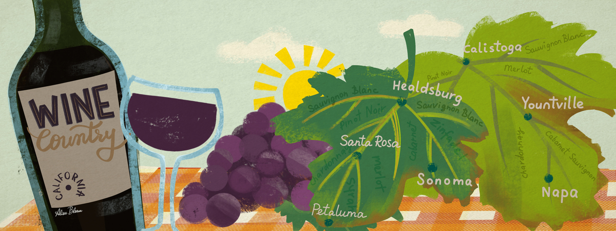 Wine country napa sonoma california illustrated map