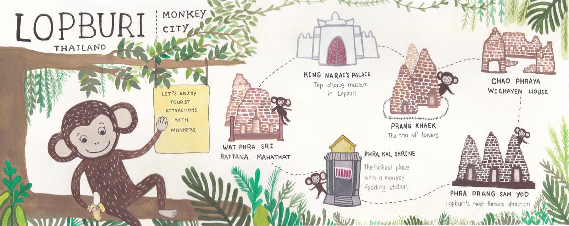 Lopburi Thailand Map.The Monkey City Lopburi Thailand By Meta Zherdzhaii They Draw