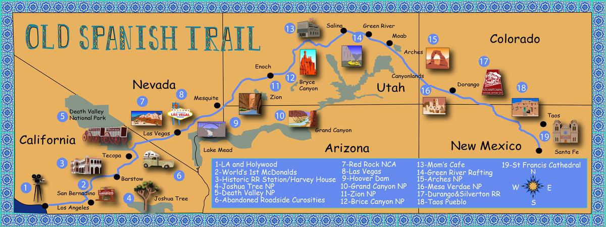 Spanish trail illustrated map