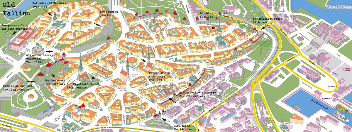 Map Of Old Tallinn Estonia By Roman Glazov They Draw Travel - Tallinn map