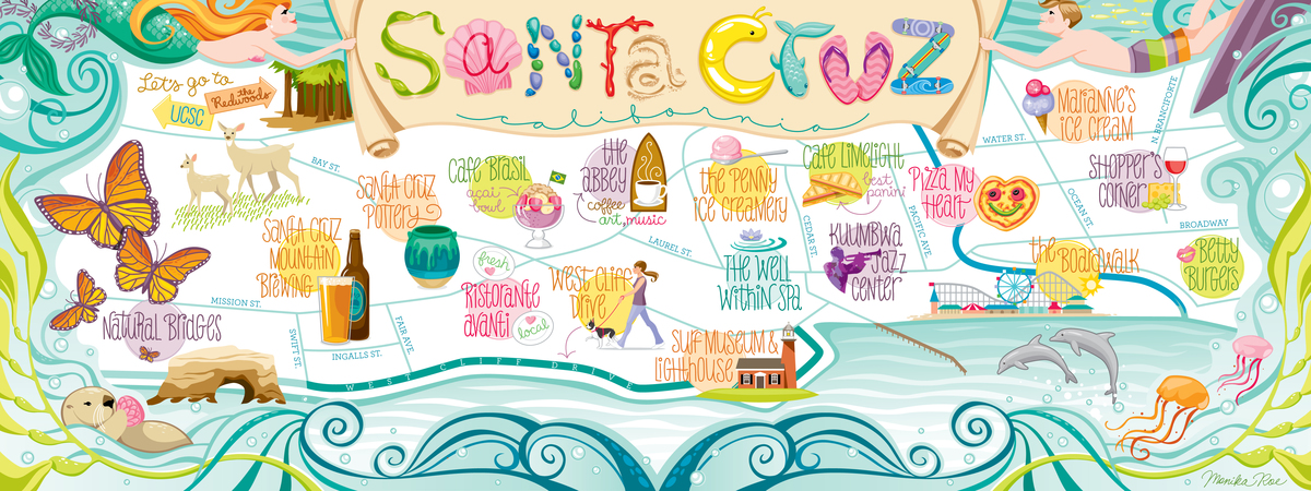 Santa Cruz California Map.Santa Cruz California By Monika Roe They Draw Travel