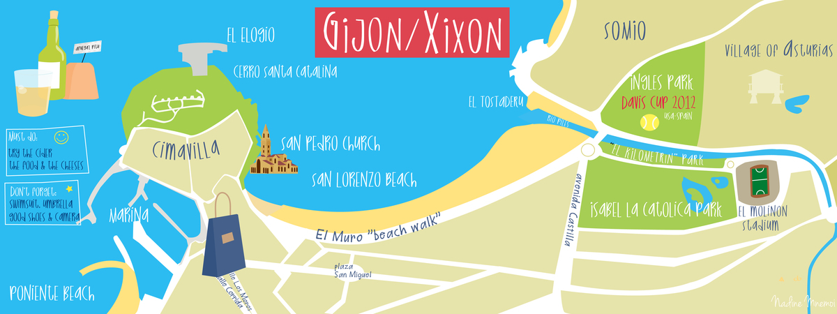 Gijon Spain Map.Gijon Spain By Nadine Mnemoi They Draw Travel