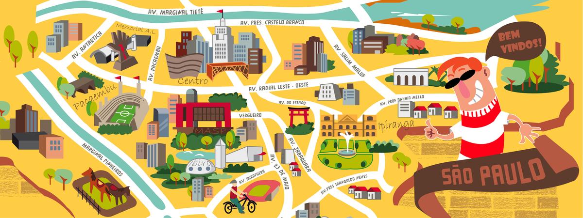 São Paulo Brazil By Rafael Fassimoto They Draw Travel - Map of sao paulo