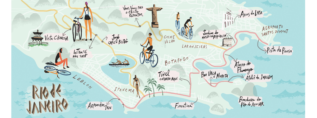 Cycling In Rio De Janeiro Brazil By Nik Neves They Draw Travel - Rio de janeiro map