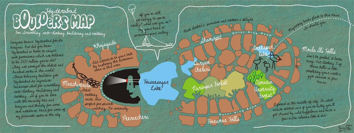 Boulders Map Of Hyderabad India By Sanjay Rao They Draw Travel