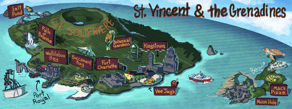 St Vincent And The Grenadines By Tiffany Petitt They Draw Travel - Saint vincent and the grenadines map