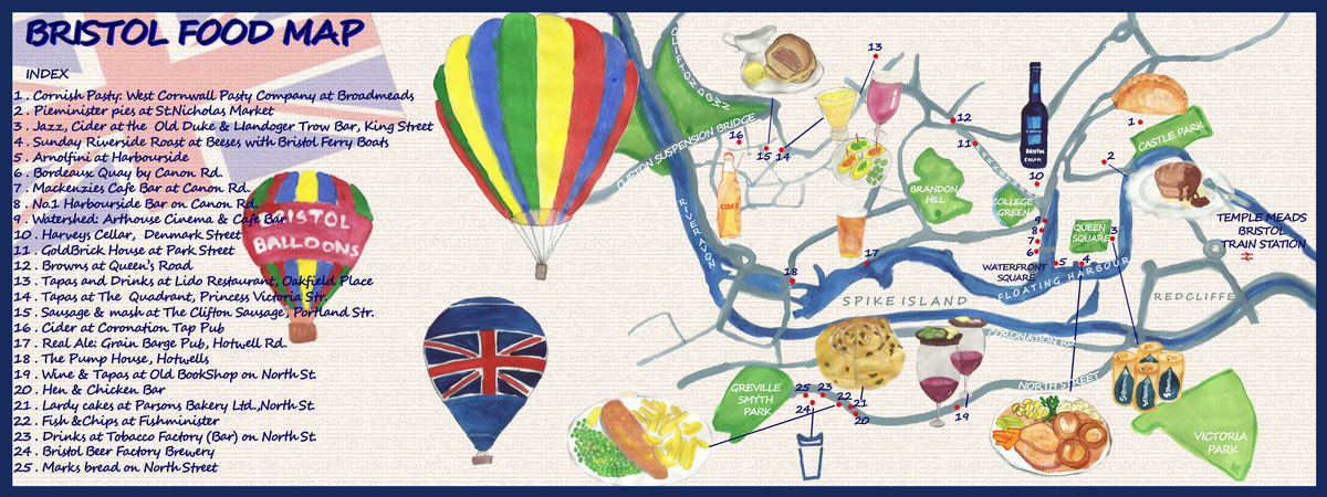 Map Of Bristol England.Bristol Uk Food Map By Dep Mehrotra They Draw Travel