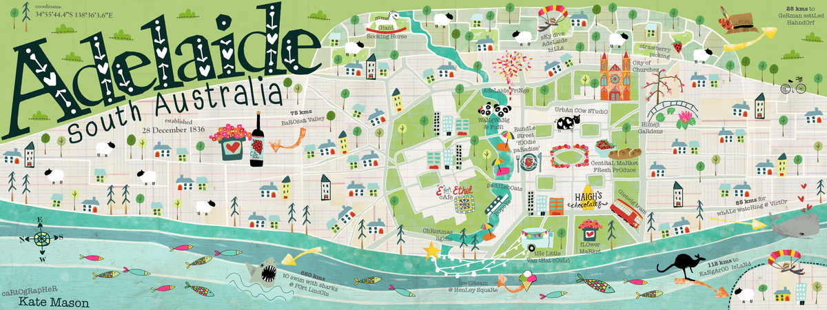 Adelaide Map Of Australia.Adelaide South Australia By Kate Mason They Draw Travel
