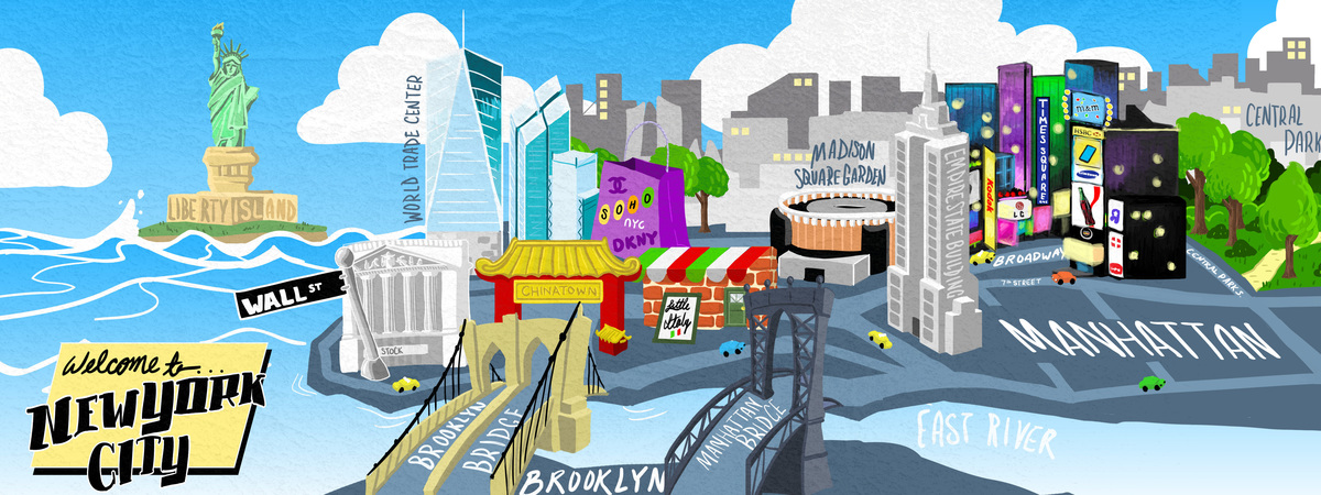 Cartoon Map Of New York City.New York City By Daniel Deng They Draw Travel