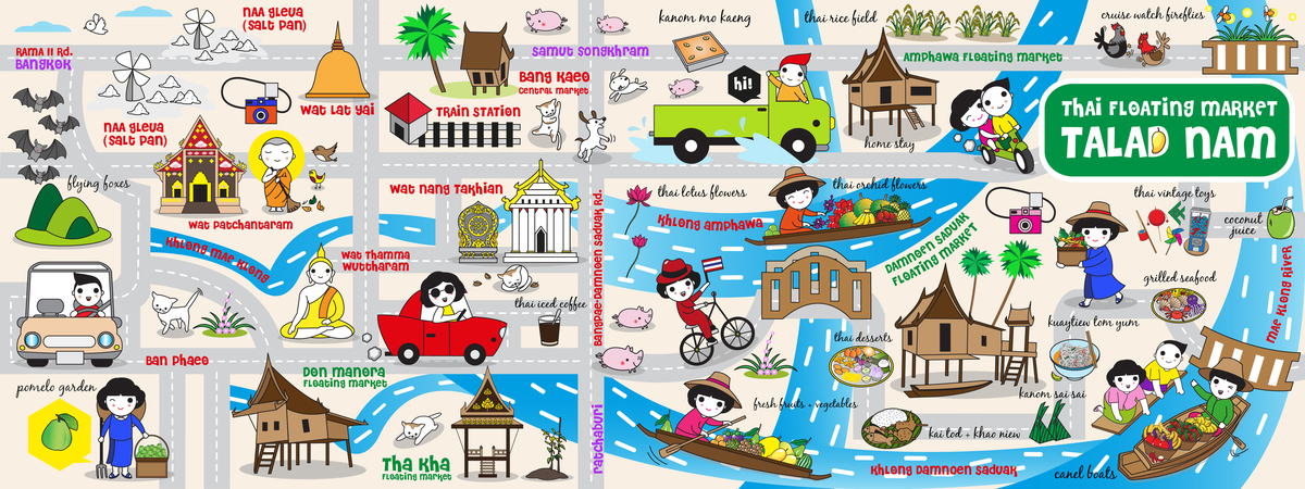 Cute bangkok talad nam map illustration set iii they draw and travel 01.jpg
