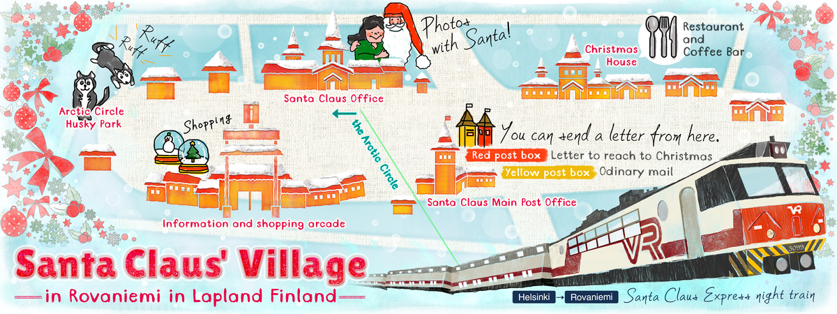 Santa Claus Village, Finland by Sumy Nakamura - They Draw ... on oolitic map, oats map, tell city map, gulf of antalya on a map, headless horseman map, splashin safari map, santa and his reindeer, north pole map, track santa map, christmas map,