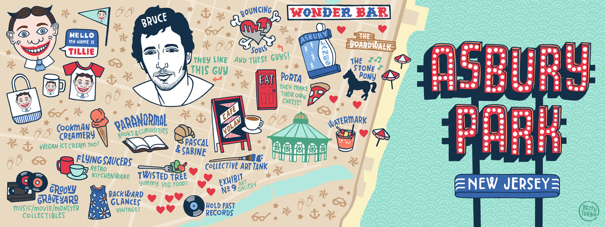 Asbury Park New Jersey Map.I Heart Asbury Park New Jersey By Betty Turbo They Draw Travel