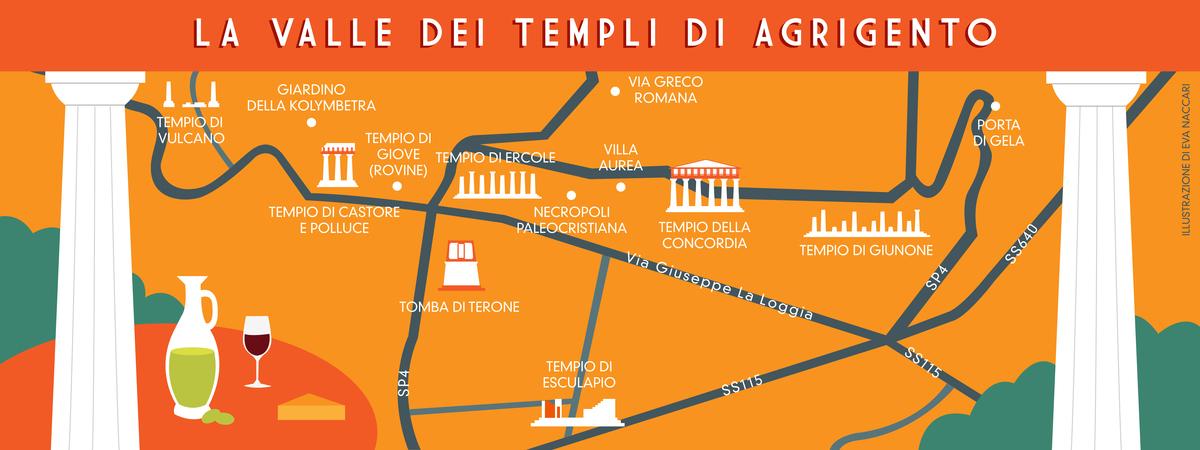 Agrigento Italy Map.Valle Dei Templi Sicily Italy By Eva Naccari They Draw Travel