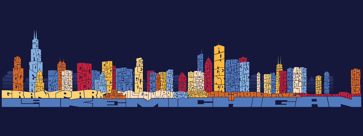 Chicago typography skyline tdat