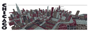 Chicago typography aerial skyline tdat