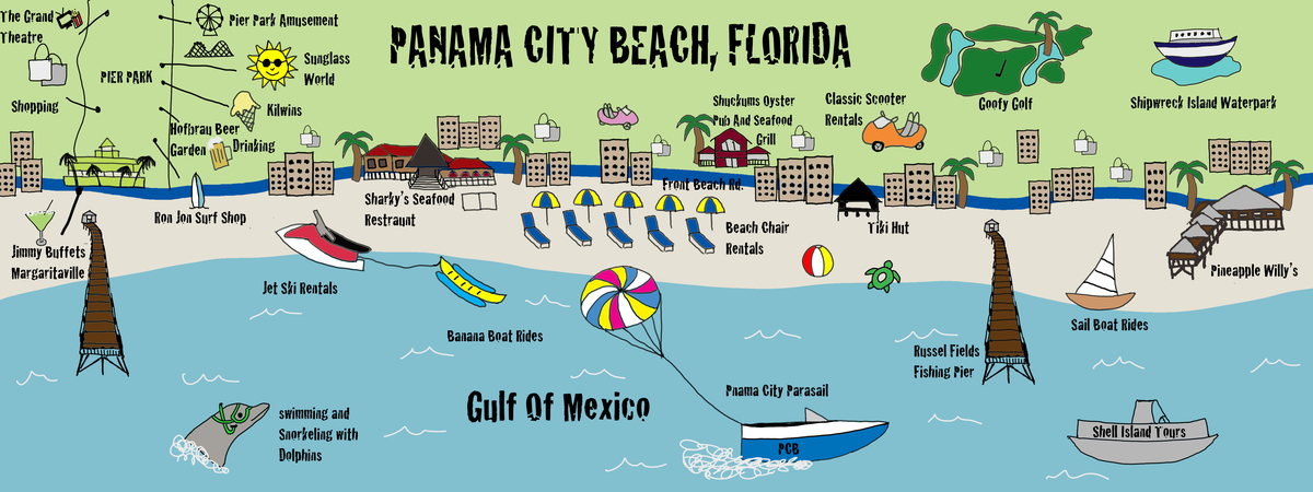 Panama City Beach Map Panama City Beach, Florida by Amber Westmoreland   They Draw & Travel Panama City Beach Map