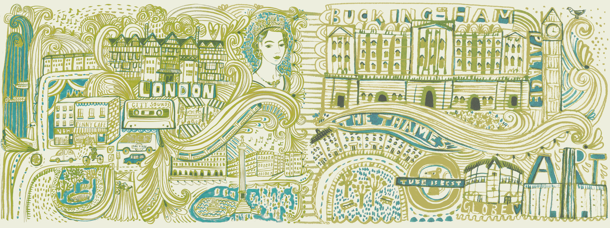 London linear doodle map by sarah papworth