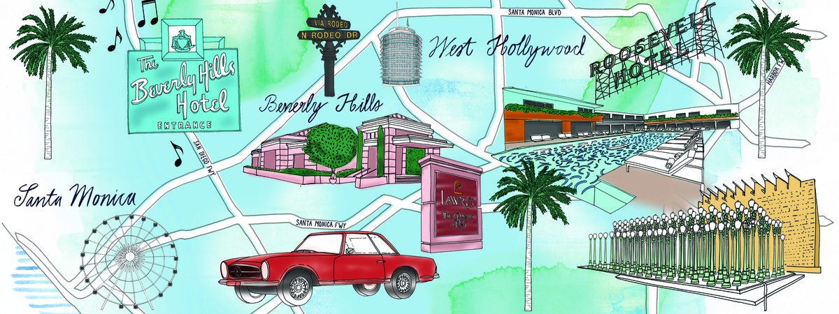 Los Angeles California Travel Map by Jitesh Patel They Draw Travel