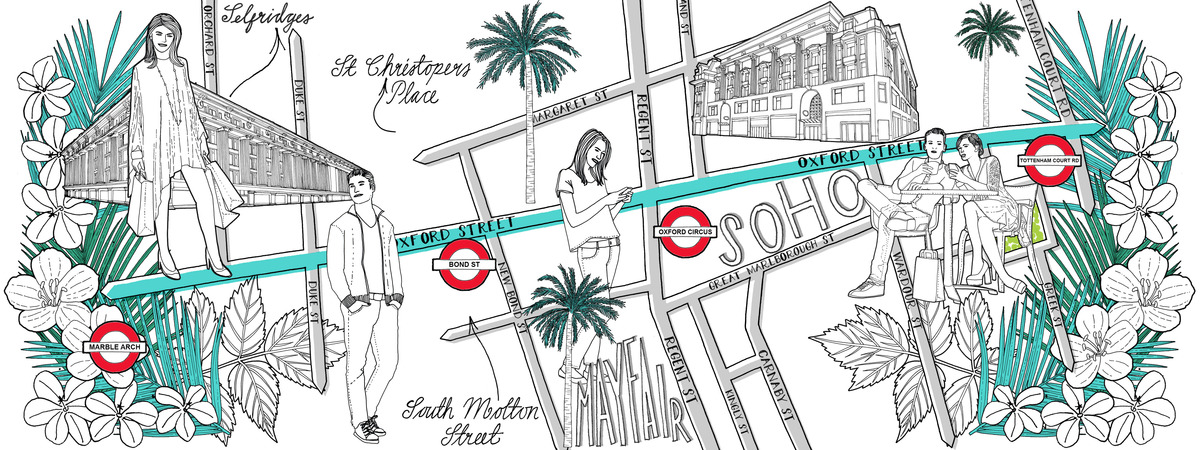 Oxford Street Map London Oxford Street Shopping Map by Jitesh Patel   They Draw & Travel Oxford Street Map